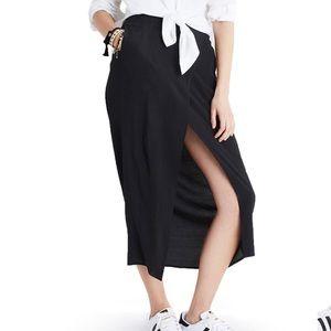 NWT Madewell Black Overlay Midi Skirt